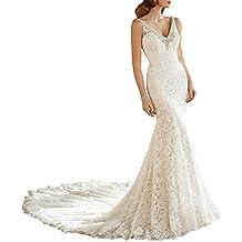 XUYUDITA Mujeres elegante doble V cuello de cristal rebordeado sirena encaje vestidos de novia