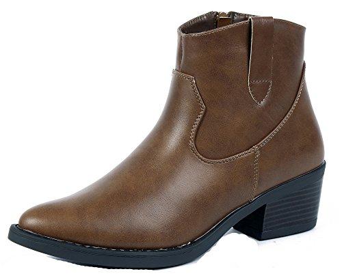 AgeeMi Shoes Femmes Bottes Casual Femme A Talon Bout Pointu Chaleureux Hiver Bottines Brun