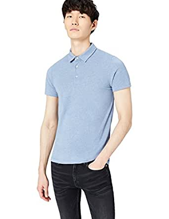 FIND Men's Polo Shirt , Blue (Mid Blue Marl), Small