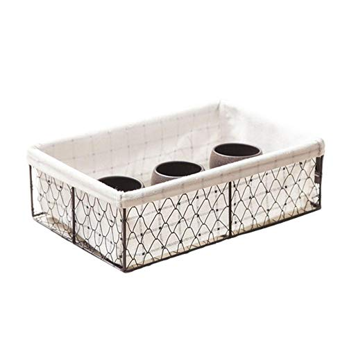 LY/WEY Iron Art Square Storage Basket Home&Living Vegetable Fruit Bread Sundries Storage Basket,White