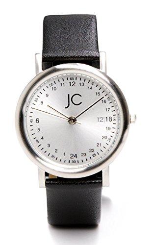 Jean Constantine Damen- Herren-Armbanduhr Unisex Datumsanzeige Mineralglas Echt-Lederarmband Uhr 24h, 5 ATM Farbe: Silber, 36mm