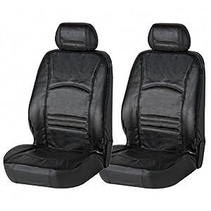 Walser 2 Stück Universal Echt Leder Auto Sitzbezüge schwarz für Fast alle PKW, für Fahrersitz und Beifahrersitz
