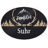 Eurofoto Türschild mit Namen Familie Suhr und rustikalem Motiv mit Geweih | für den Innenbereich | Klingelschild mit Nachnamen