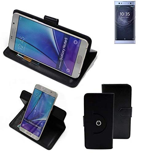 K-S-Trade® Case Schutz Hülle für Sony Xperia XA2 Ultra Dual-SIM Handyhülle Flipcase Smartphone Cover Handy Schutz Tasche Bookstyle Walletcase schwarz (1x)