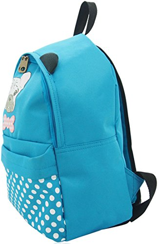 Ukfs Designer Lady Girl Polka Dot Charlie Dog Zaino Sintetico / Borse Zaino Blu