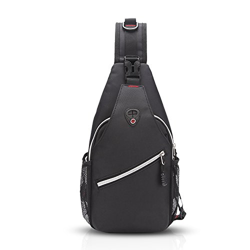 FANDARE Nuovo Sling Bag Monospalla Borse a Spalla Zaino Tracolla Crossbody Bag Hiking Bag Ciclismo Borsello Marsupio Zainetto Uomo Zaino Impermeabile Poliestere Grigio