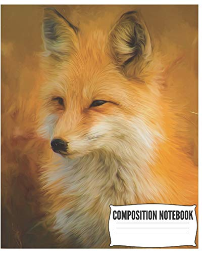 Composition Notebook: Beautiful Fox Notebook/Journal for Kids or Animal Lovers to Writing (8x10 Inch.) College Ruled Lined Paper 120 Blank Pages for Children (Orange&White&Black Pattern) -