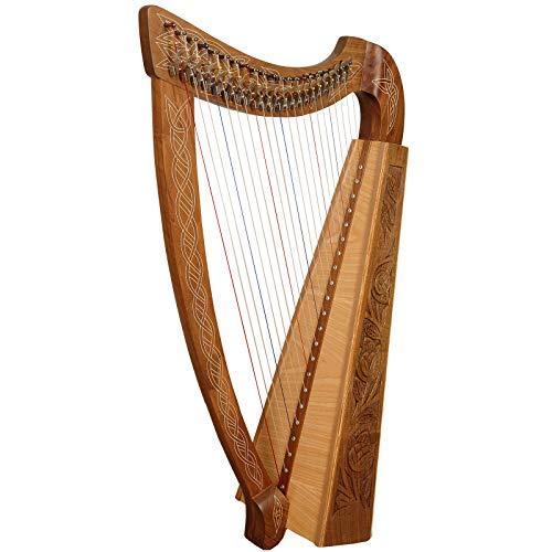 muzikkon 22Saite Trinity Harfe, keltische Harfe, irische Harfe mit Hebel