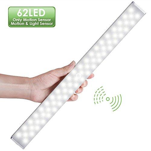 Lofter luce wireless migliorato a 62 led con 2 geniali sistemi di rilevamento, luce per armadio / luce sottopensile con 2 modalità di installazione, ricaricabile come cell, luce bianca