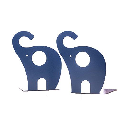Super44day 2 Pezzi Elefante Animali Reggilibri Fermalibri Metallo Titolare Libro Mensola Biblioteca fermalibri per mensole Casa UffIcio Scuola Bookends Shelf Holder,