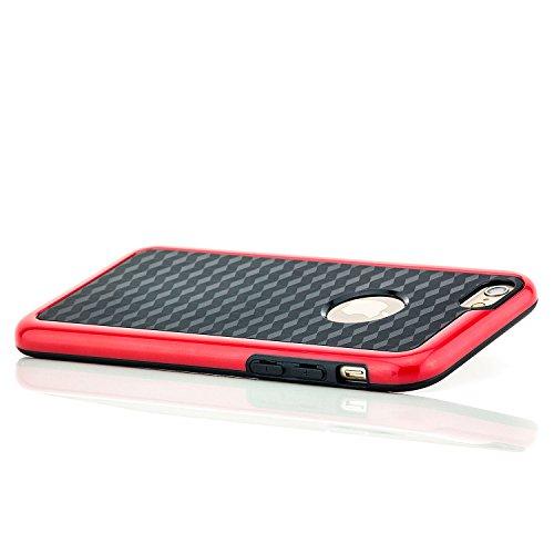 Saxonia Schutzhülle Apple iPhone 6 6S Hülle Case Silikon Cover Diamond Design Silikonhülle Gelb Schwarz-Rot