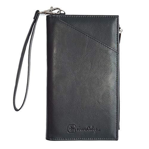 TraveLubes Wallet RFID Brieftasche Reisepass-Hülle Reise-Organizer Ausweis-Tasche Mappe Reisepass-Etui Passport   Geldbeutel   Herren/Damen   Kunst-Leder (schwarz)