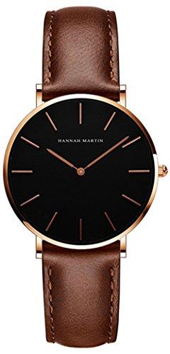 Uhren Damen Lederarmband Braun, Zeitloses Design Ultraflach Damenuhr, Classic Analog Damen Armbanduhr, Elegant Quarzuhr für Frauen Braun Schwarz