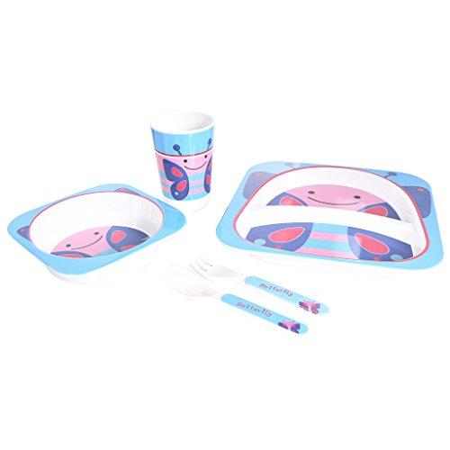 TRUENOW Ventures Pvt. Ltd. Melamine Cartoon Print Stain Resistant Kids Dinnerware set Set Included 2 Plates ,1 Glass,1 Spoons and 1 Fork