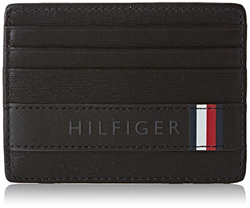 Tommy Hilfiger Textured Leather Cc Holder - Portafogli Uomo, Nero (Black), 1x1x1 cm (W x H L)
