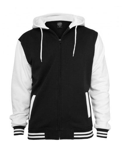 Urban Classics Herren Jacke Bekleidung Zip Hoody Schwarz/Weiß
