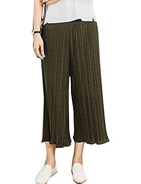 Simgahuva Mujer Casual Pantalones Recortados Plisado Cintura Alta Pantalones Culottes