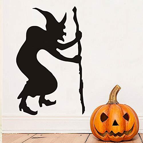 Guokee Bucklige Hexe Halloween Wandaufkleber, Halloween Wandtattoos, Hexe Silhouette Tapete Halloween Dekoration Wohnkultur 44 * 69cm