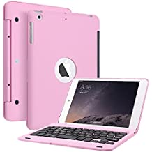KVAGO funda folio ultra slim inalámbrico portátil Bluetooth Clamshell–Teclado para Apple iPad Mini de 7,9(32014versión/Mini 2Retina Display–Teclado de aleación de aluminio transporte funda con tapa + lápiz capacitivo + HD Protector de pantalla rosa rosa