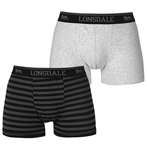 Lonsdale Herren 2er Pack Trunk Boxershorts Unterhose Grau/schwarzstrp Extra Large -