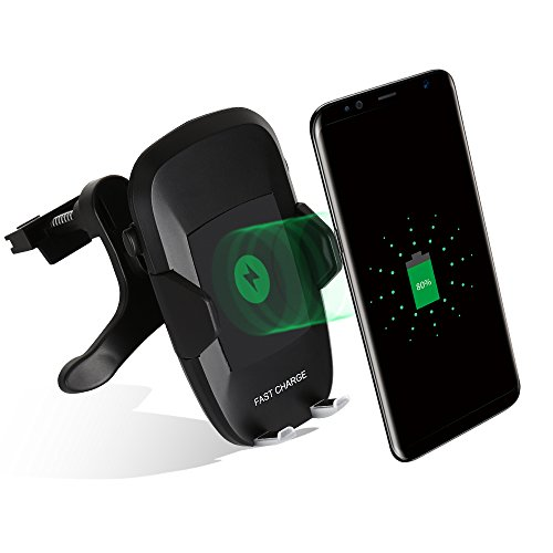 Schnell KFZ Ladegerät Wireless Charger, 2-in-1 Auto Telefon Ladestation Car Mount Holder [360 Grad Rotation] für Samsung Galaxy S9/S8/S7 Edge Plus/Note 8/Note 5, iPhone X, iPhone 8/8 Plus, Xiaomi mix2 and All Qi Enabled Device