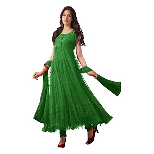 BikAw Printed Green Net Brasso Fashion Anarkali Style Party Wear Semi-Stitched Suit. - KHANTIL03  available at amazon for Rs.379