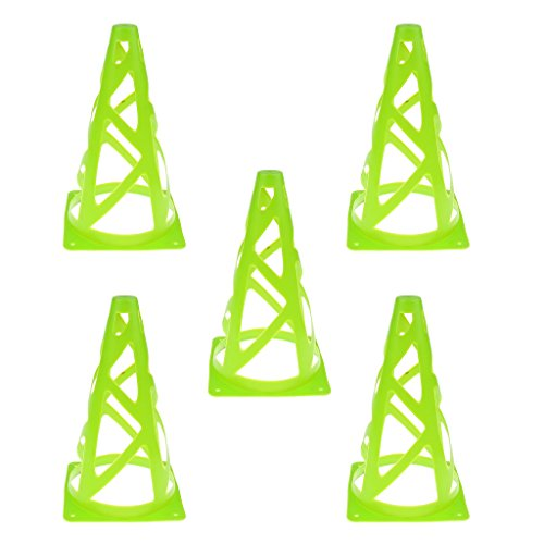 MagiDeal Fußball Kegel 5er Set Verschiedene Farben Markierungskegel Multifunktionskegel Fußballtraining Marker Kegel Markierkegel - Grün -