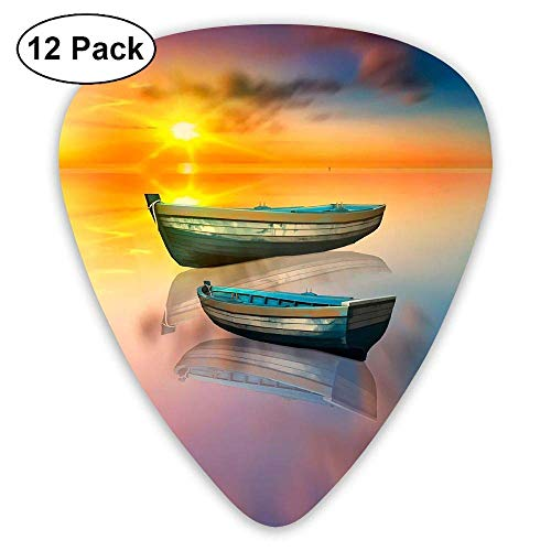 Classic Guitar Pick (12 Pack) Lake Boat Player's Pack Electric Guitar,Acoustic Guitar,Mandolin,Guitar Bass (Silver Halloween Lake)