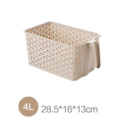 4l Bad Möbel (WEIAIXX Korb Griff Nachahmung Rattan Desktop-Korb Bad Bad Korb Bad Körbe Küche Kunststoff Ablagekorb Lagerung 4 L)