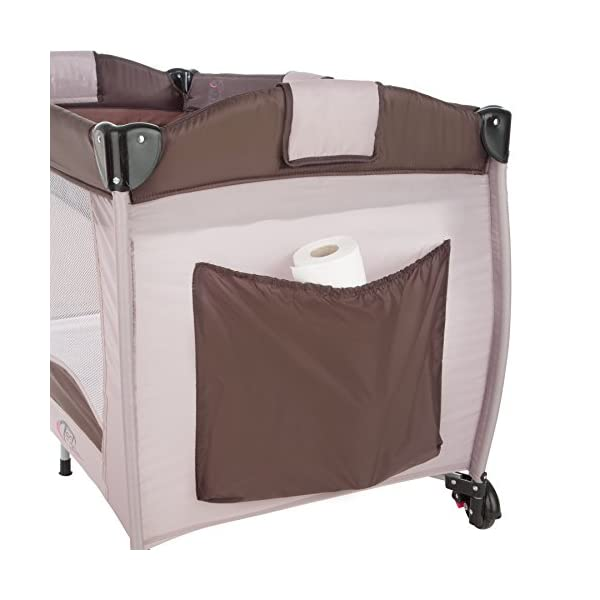 TecTake Portable Child Baby Travel Cot Bed Playpen with Entryway and Toys New - Different Colours - (Coffee | No. 402203)  Suitable for children up to an age of 36 months Bed Size: 128 cm length, 67 cm width, 81 cm height Changing mat: 68 cm length, 51 cm width 4