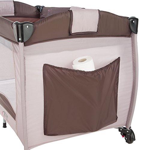 TecTake Kinder Reisebett höhenverstellbar mit Babyeinlage Coffee