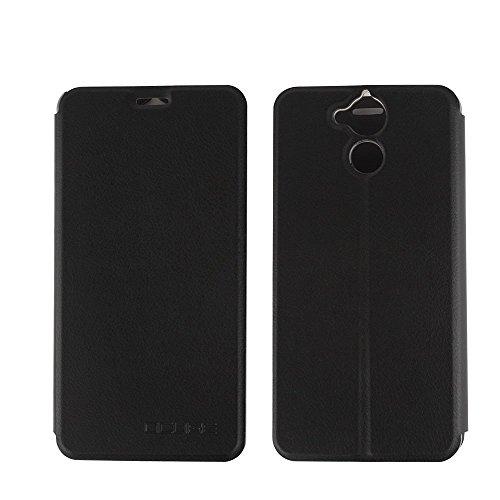 Tasche für Blackview P2 Lite Hülle, Ycloud PU Ledertasche Metal Smartphone Flip Cover Case Handyhülle mit Stand Function Schwarz