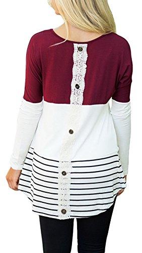 La vogue Damen Casual Bluse Langarm T-Shirt Rundhals Tops Weinrot