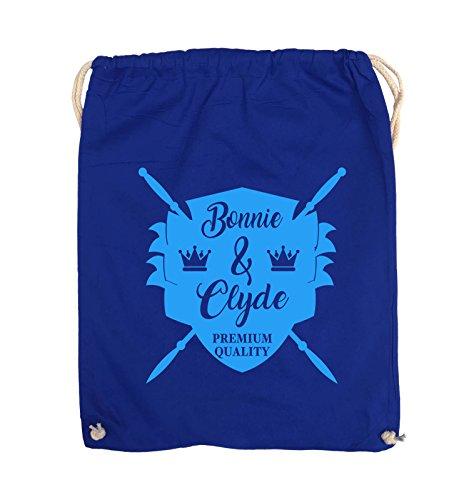 Borse Commedia - Bonnie & Clyde Cavalieri - Motif - Turnbeutel - 37x46cm - Colore: Nero / Argento Royal Blu / Blu