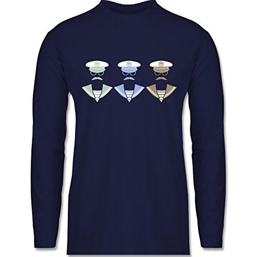 Shirtracer Schiffe - 3 Matrosen - Herren Langarmshirt Navy Blau