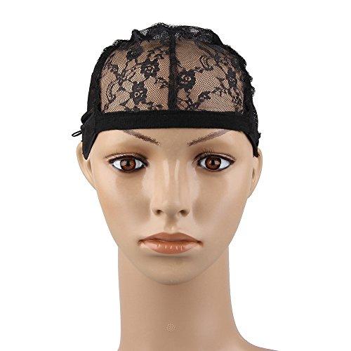 Beauty7 - Schwarz Lace Perückekappe Wig Caps for Making Wigs Elastisch Spitzen Perücke Netz Kappe mit Verstellbar Gurt Band Weaving cap - 1er/2er/5er/10er auswählbar (5 Stücke)