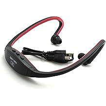 VANKER Sin hilos del auricular del auricular del deporte reproductor de música MP3, Aerobismo, Correr FM Radio Rojo