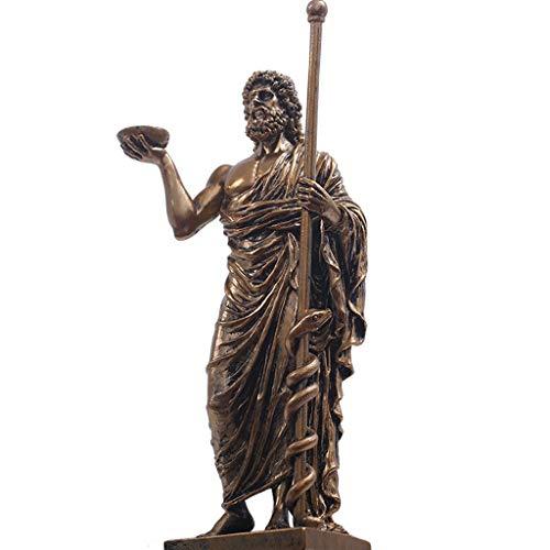 Escultura del Dios médico Griego, decoración de la habitación Modelo Retro Figuras míticas Artesanía de Arte, Decoraciones Modelo Sala de Estar- 28 cm