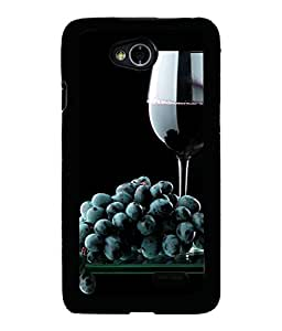 PRINTVISA Black Grapes Premium Metallic Insert Back Case Cover for LG L70 - D5969