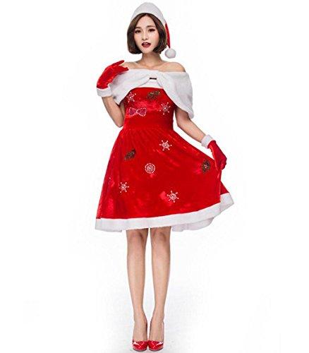 MFFACAI Frauen FräUlein Santa Damen Sexy Sweet FräUlein Santa Claus Weihnachten KostüM Und Hut