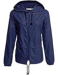 Decha Veste de Pluie Femme Manteau Imperméable Capuche Coupe-Vent Zippé Outwear Parka Respirant pour Extérieur Jogging