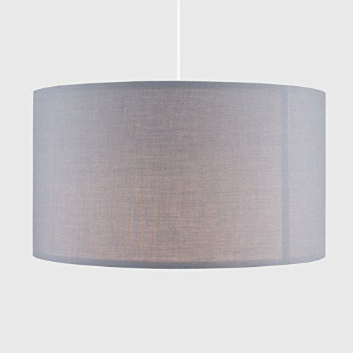 Extra Large Modern Grey Polycotton Cylinder Ceiling Pendant/Table/Floor Lamp Drum Light Shade - Complete with a 10w LED GLS Bulb [3000K Warm White]