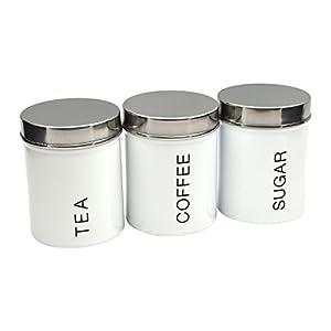 Lot de boîtes en métal - thé/café/sucre - blanc