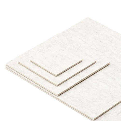 ESTA-Design Dessous de Verre Set de Table Soucoupe Ronde/Carré/Carré Couleur Blanc/chiné 100% Feutre en Laine Vierge mérinos 3 mm, Feutrine Laine mérinos, weiß Meliert, 10 x 10 cm