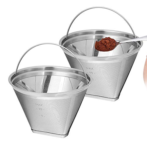 Kaffeefilter - Permanent wiederverwendbar, 4, kegelförmig, Edelstahl, Kaffeefilter, Mesh-Ton, Kaffee-Zubehör - kegelförmig, Kaffeefilter 4 - permanent, 1 Stück sliver-2pcs -