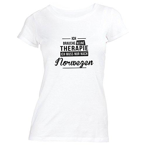 Damen T-Shirt - Ich Brauche Keine Therapie Norwegen - Therapy Urlaub Norway  Weiß
