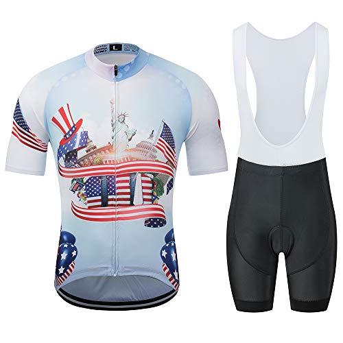YDJGY Weiß Radfahren Sweatshirt Set Kurzarm Herren Jersey Anzug Bike Wear Shorts Gel Pad