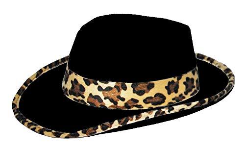 a Hut im Leopardenlook - Schwarz - Zubehör zum 20er Jahre Gangster Boss Zuhälter Kostüm - Karneval Mottoparty Junggesellenabschied Theater ()