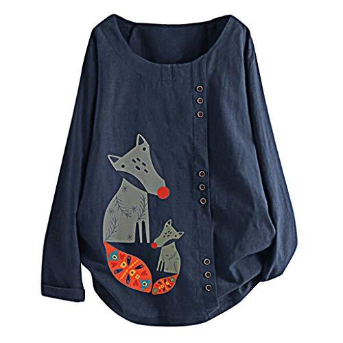 GOKOMO Plus Size Frauen Langarm Baumwolle Leinen O-Neck Print Bluse Top T-Shirt(Navy Blue-C,XXXX-Large)