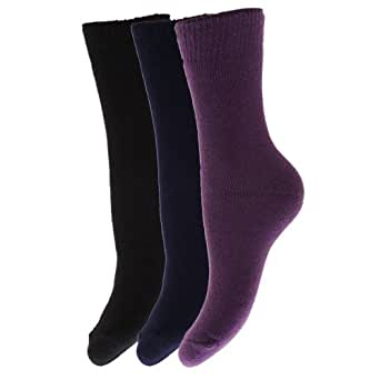Chaussettes thermiques (lot de 3 paires) - Enfant (EUR 26-31 (5-7 ans)) (Noir/Bleu marine/Violet)